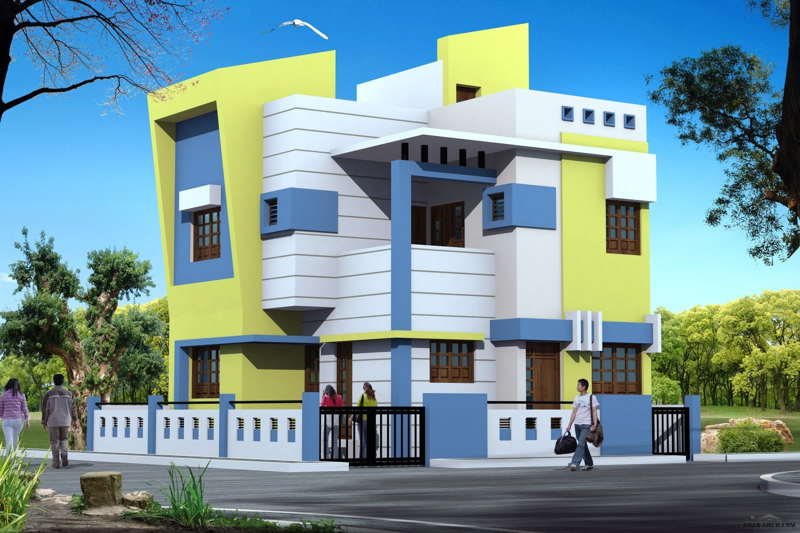 Modern villas arab arch for House front side wall design