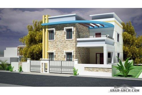 Modern villas arab arch for Exterior design of bungalows