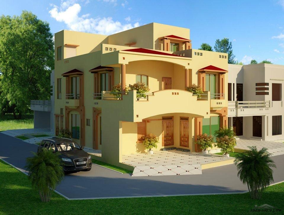 Front Elevation Of 2 Kanal Houses : منظور فلل جميلة تصميم باكستانى arab arch