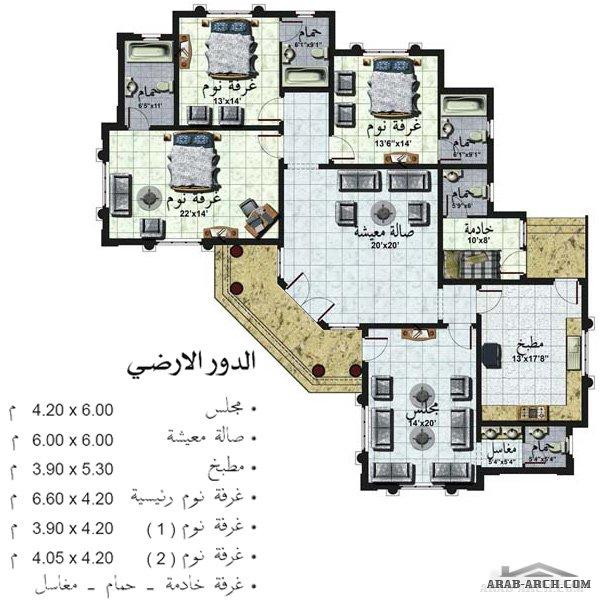 فلل مودرن بالمخطط 3d الديكور الداخلى Arab Arch: استراحه دور واحد 231 متر مربع Villa Front & Plans » Arab Arch