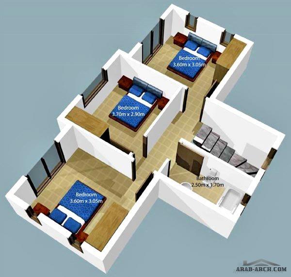 فلل مودرن بالمخطط 3d الديكور الداخلى Arab Arch: فيلا صغيرة 3 غرف نوم بالمخطط 3d » Arab Arch