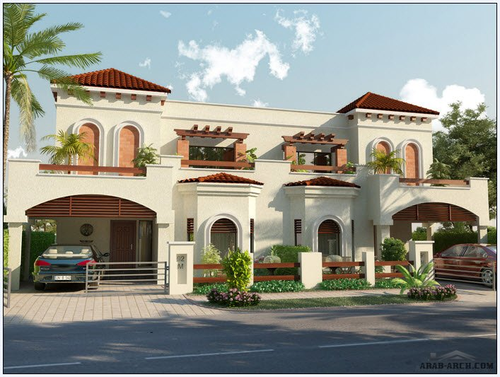 Front Elevation With Arch : Front elevation floor plans park view villas arab arch