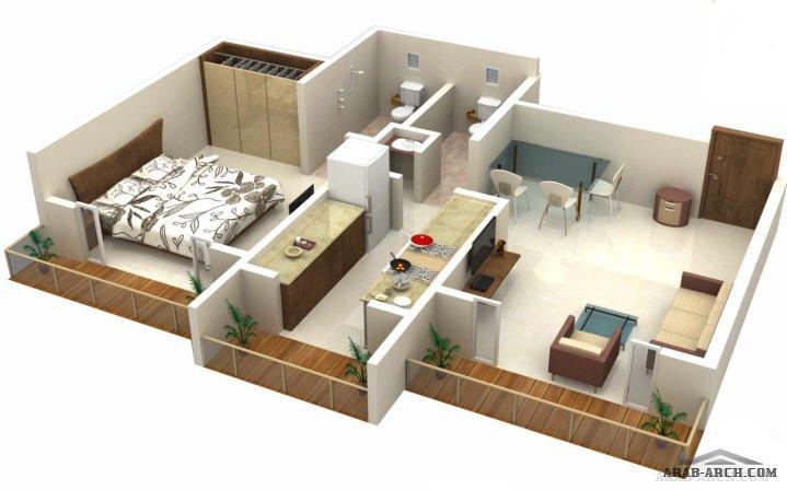 مخطط شقق استوديو غرفة نوم واحدة 187 Arab Arch