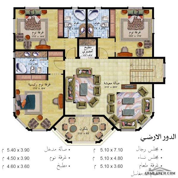 فلل مودرن بالمخطط 3d الديكور الداخلى Arab Arch: خريطة فيلا خليجى طابقين المساحه الاجمالية 432 متر مربع