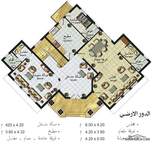 فلل مودرن بالمخطط 3d الديكور الداخلى Arab Arch: خريطة فيلا طابقين مساحه اجمالية 343 متر مربع » Arab Arch