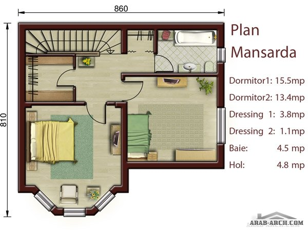 2 60 sqm arab arch - Small attic house plans ...