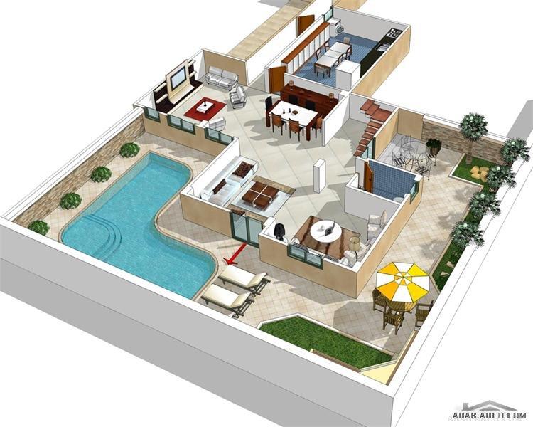duplex villa floor plans 280 m in cairo arab arch. Black Bedroom Furniture Sets. Home Design Ideas