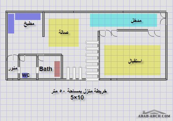 خرائط منزل 50 متر واجهه 5 متر ونزول 10 متر Arab Arch