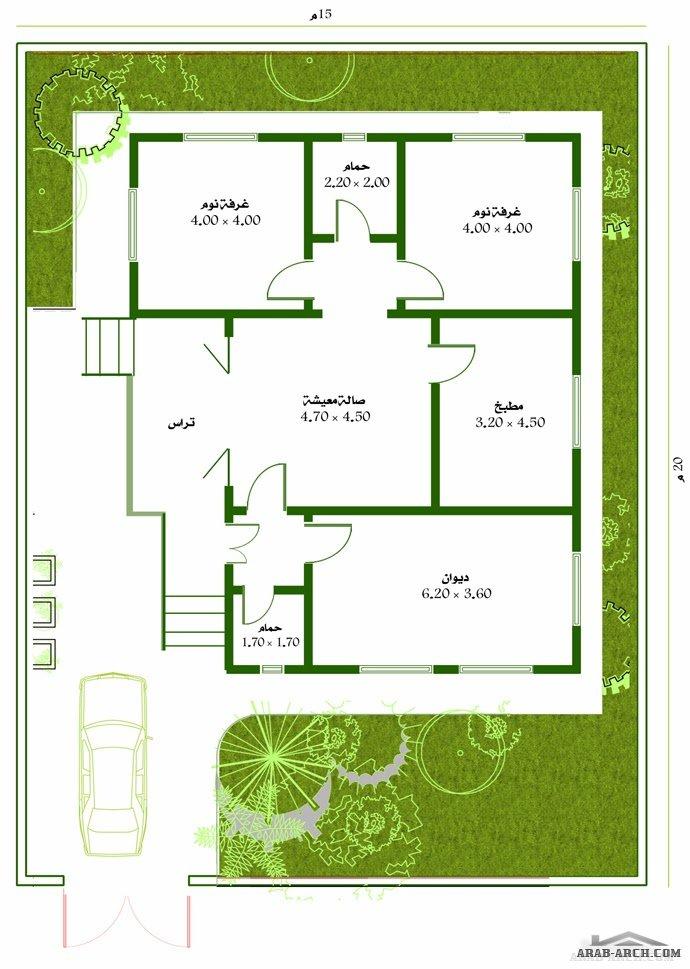 خرائط بيت طابق واحد مسحه البناء 120 متر مربع Arab Arch