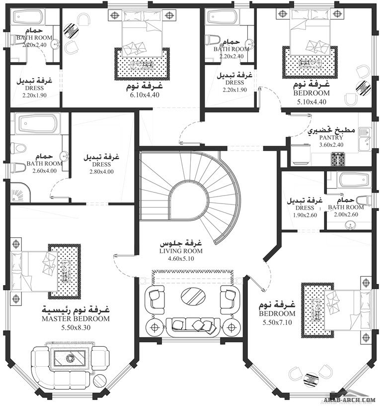 فلل مودرن بالمخطط 3d الديكور الداخلى Arab Arch: 5 غرف نوم أبعاد المسكن 16.40م