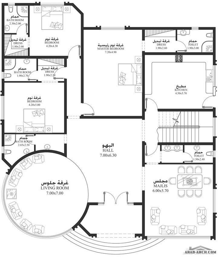 مخطط فيلا ارضية 3 غرف نوم ماستر EM 03   ابعاد المسكن 17.80م عرض