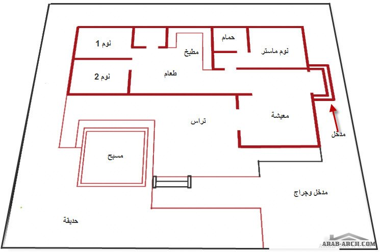 تصميم استراحه عائلية 3 غرف نوم مساحه المبانى 160 متر مربع Arab Arch