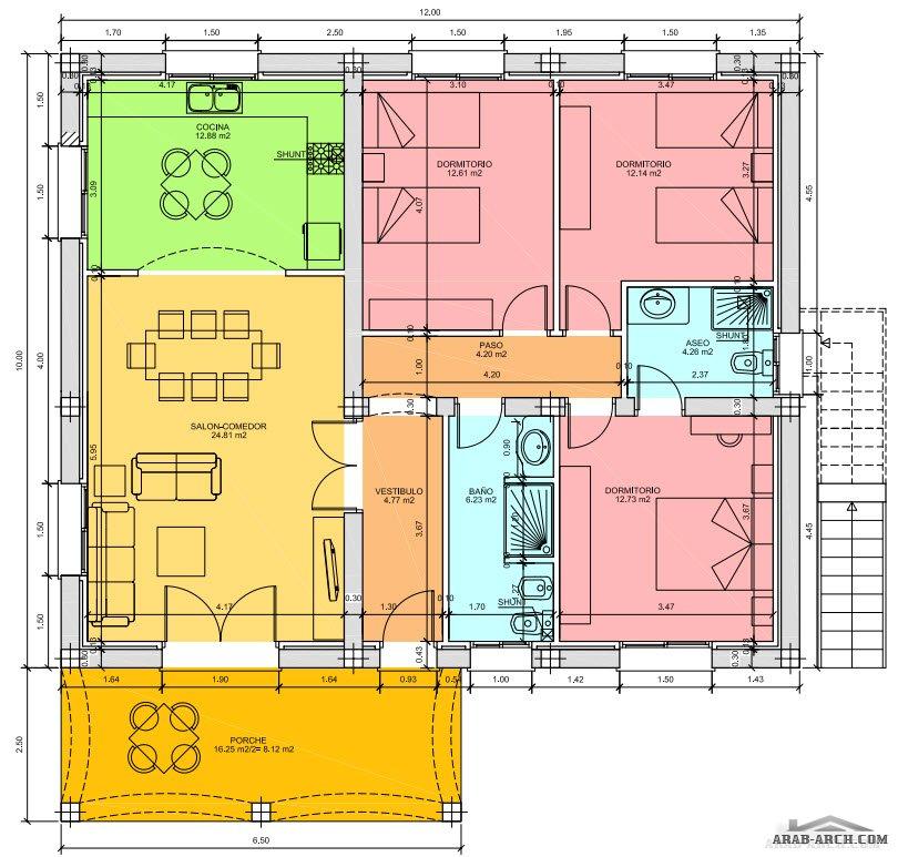 خريطة بيت طابق واحد 120 متر مربع Arab Arch
