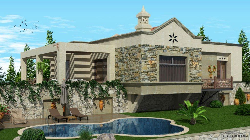 تصميم بيت تركى بحديقة ومسبح طابق واحد » arab arch
