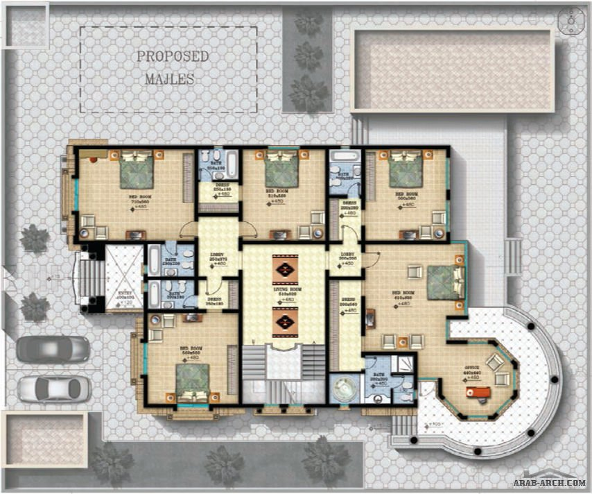 فلل مودرن بالمخطط 3d الديكور الداخلى Arab Arch: مخطط الفيلا رقم التصميم I2 من مبادرة بيتى 900 متر مربع 6