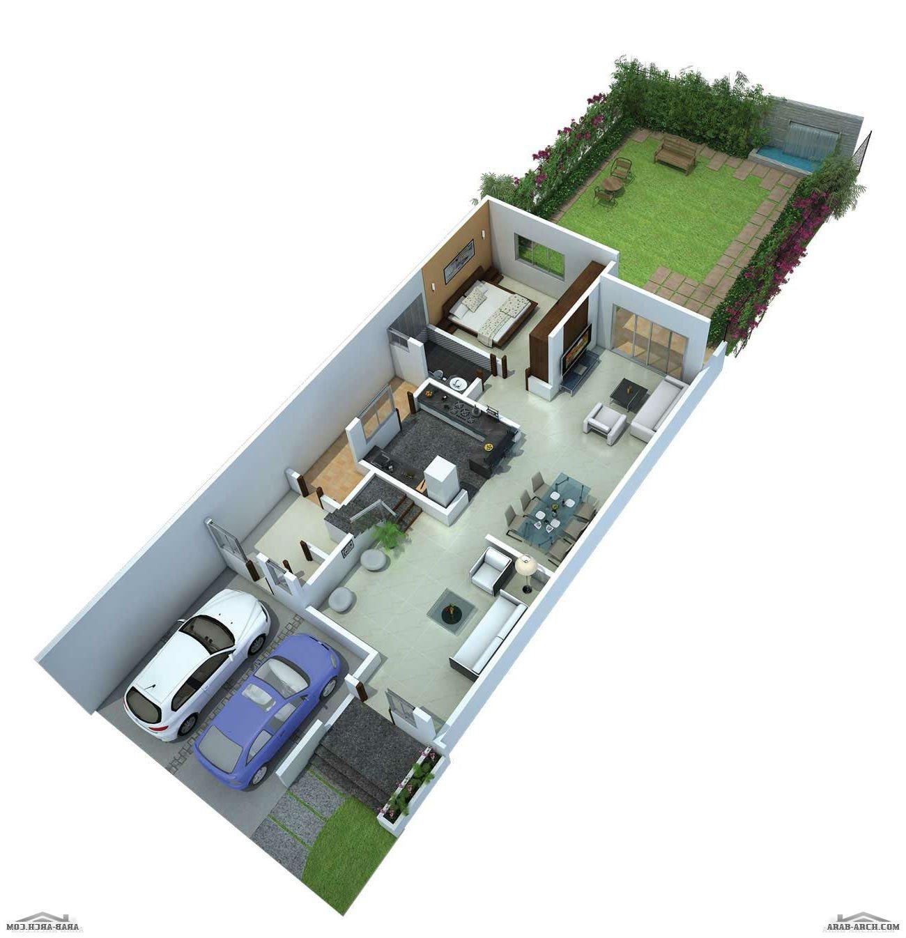 فلل مودرن بالمخطط 3d الديكور الداخلى Arab Arch: نموذج فيلا اسبانية بالمخطط والفرش الداخلي 3D » Arab Arch