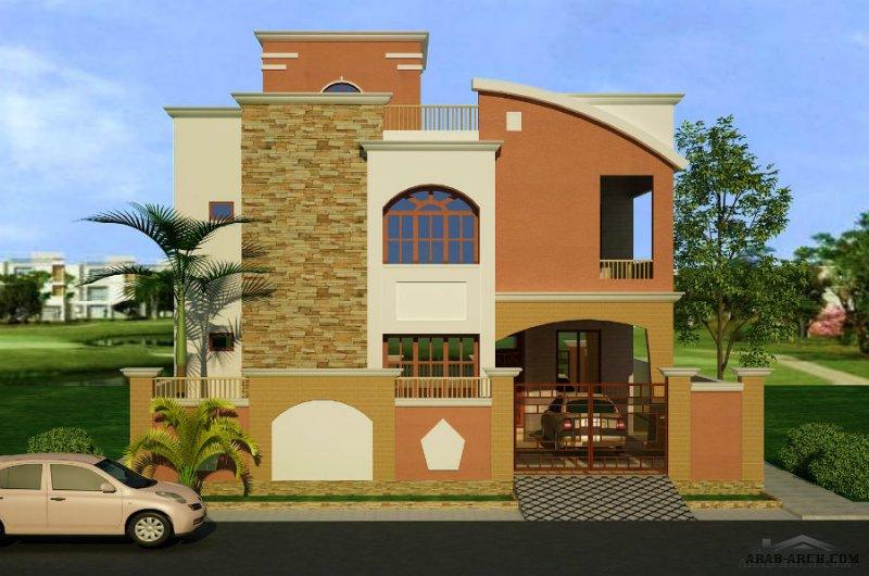 Front Elevation Of Small Villa : Small villas d front elevation arab arch