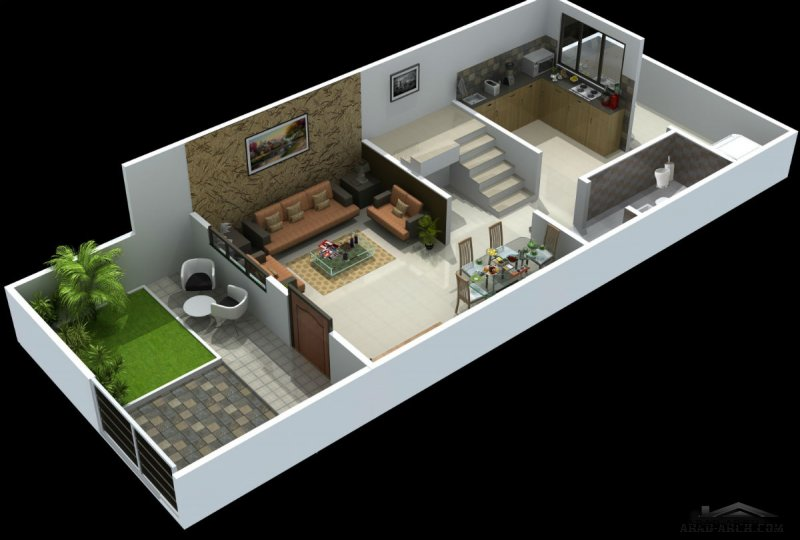 small villa floor plans 2 BHK