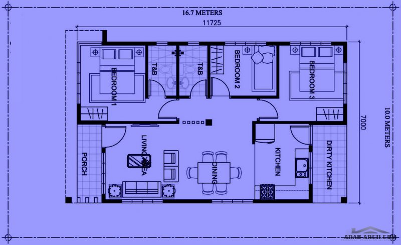 Three bedroom Bungalow House plan with total floor area of 82 square meters