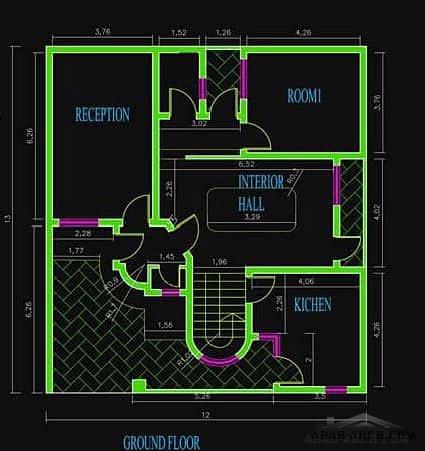 خرائط منزلية دار عراقى 12 15 متر Arab Arch