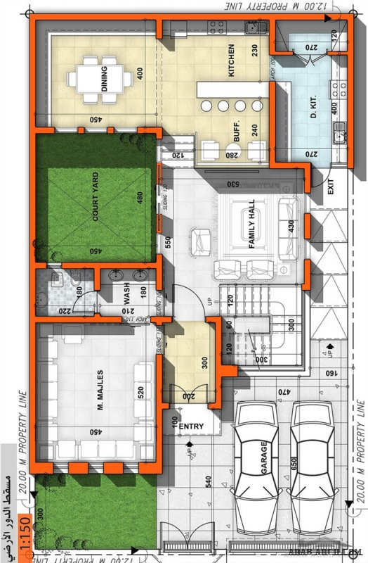 مخطط فيلا  صغيرة  مساحة الأرض : 240 ، مساحة الدور الارضي 150.  للمصمم المعمارى عمار ناصر