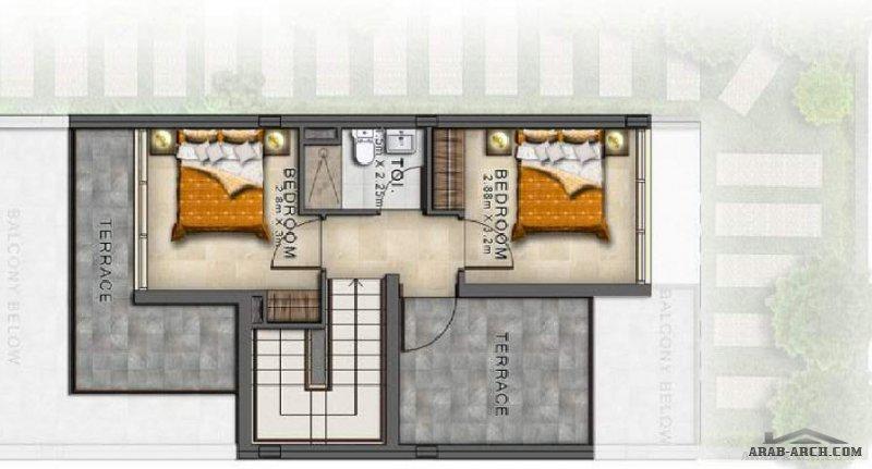 مخطط فيلا خليجي صغير المساحه 5 غرف نوم
