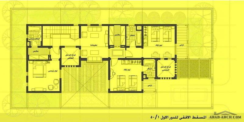 الارض 12.5م×25م نسبة البناء 50 المعماري طارق عبدالرؤوف