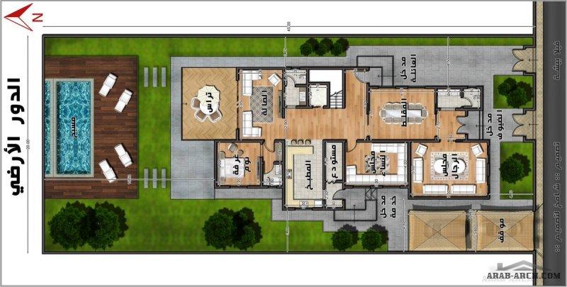 مخطط فيلا بيشة تصميم مهندس شامخ  مساحة الارض 20*45 متر