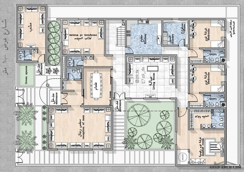 تصميم فيلا دور أرضي فقط بمساحة ٤٢٥م٢ من اعمال معمارى  يحي زنقوطي