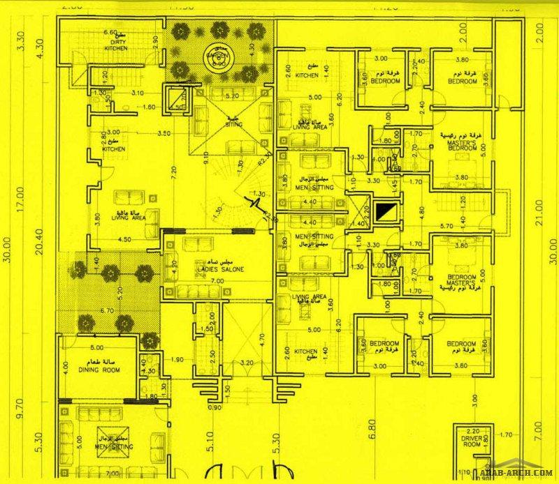 مخطط فله دورين و 4 شقق جانبيه بالرياض 30*30 متر