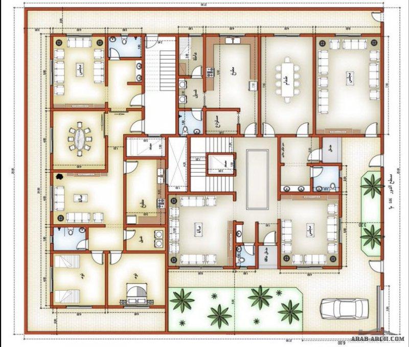 مخطط الدور الارضي والاول فيلا و شقتين سكنية بالخلف