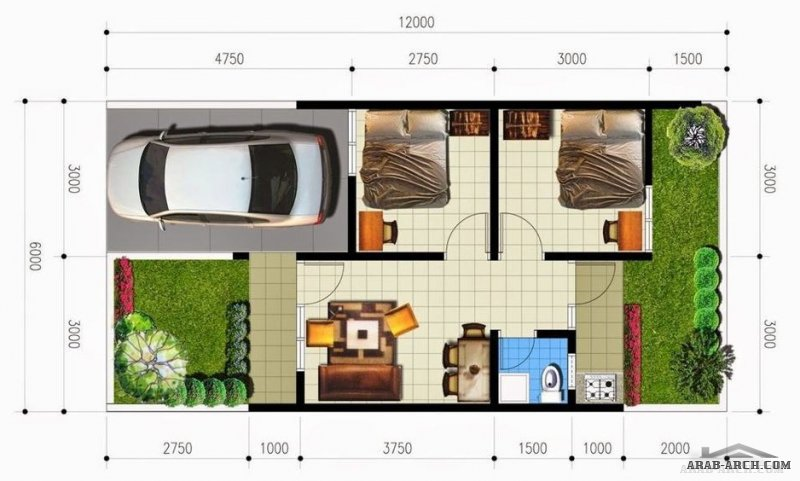 تصاميم منوعه صغيرة المساحة طابق واحد بحديقة خلفية