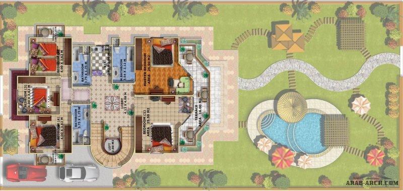 تصميم رائع لفيلا مع اللاند اسكيب لمعماري مميز