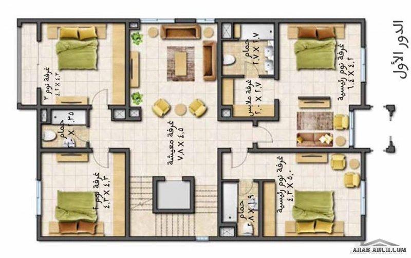 مخطط فيلا التميز مساحة البناء      443 م2 5 غرف نوم