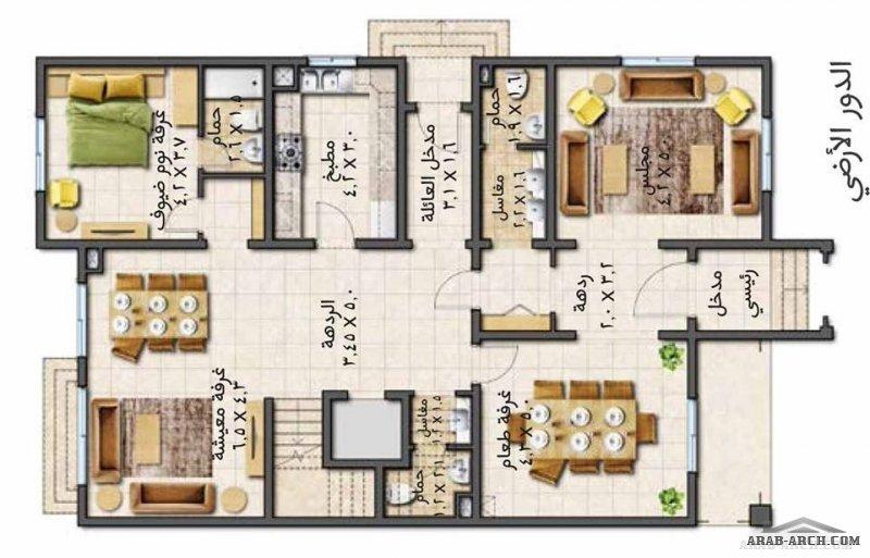 مخطط فيلا التميز مساحة البناء   |  443 م2 5 غرف نوم