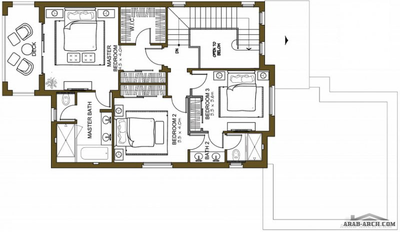 VILLA ARABIC FLOOR PLANS  FRONT  3 bedroom Total area: 293.9 Sq.m