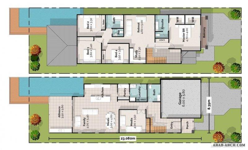 Two Storey House Plan 8.35*23.08 M