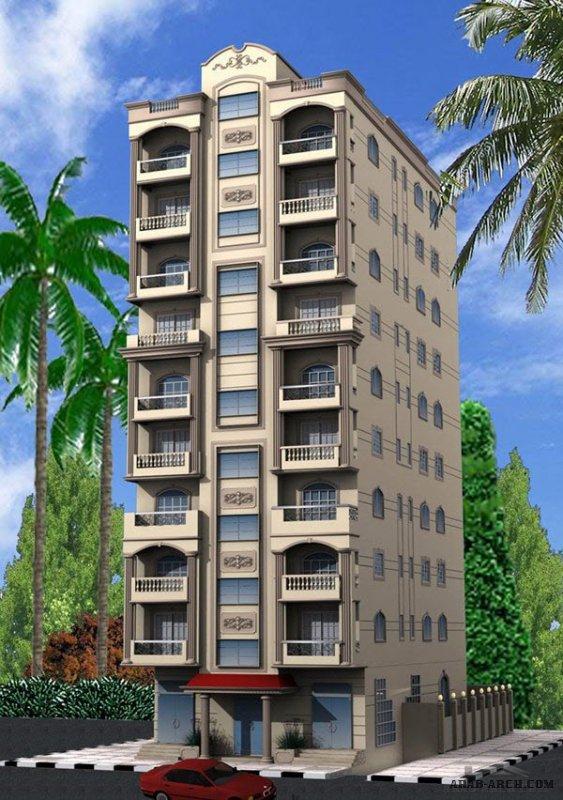 تصميم عمارة سكنية الدور شقتين - مساحه الشقه 140م2 وتتكون من ريسبشن 3 قطع و3غرف نوم و2حمام ومطبخ وبلكونه