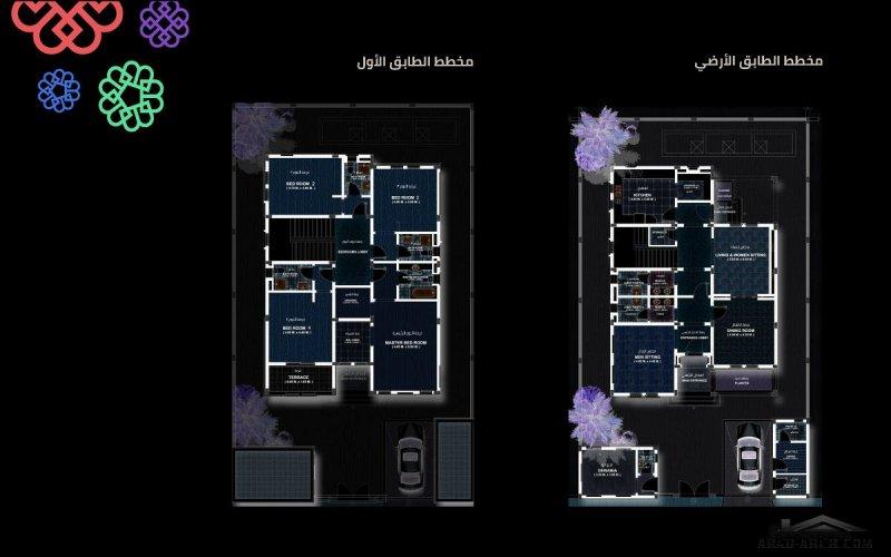 خطة فيلا الخزامي بريدة مساحه البناء 405 متر مربع