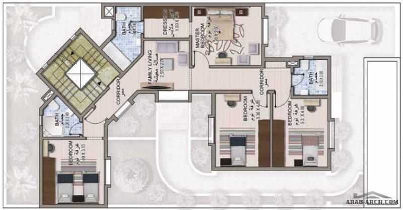 بلانات فيلا خليجي مسطح البناء 320 متر مربع