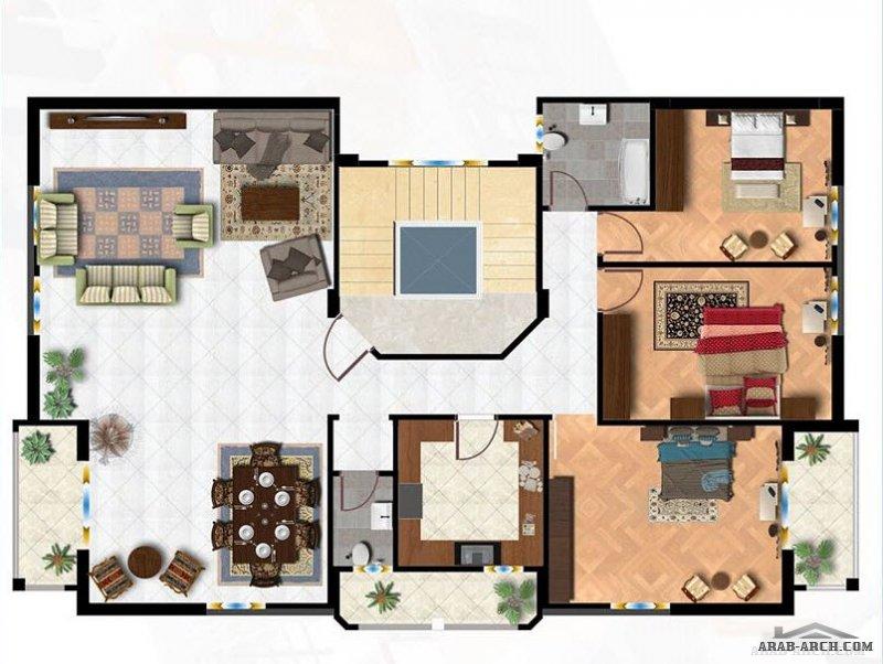 خرائط بناية بالتجمع الخامس مساحة الشقة 125 متر مربع