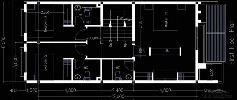 أفضل مخطط لبيت واجهه 6 متر ونزول 12 متر 3 غرف نوم  96 متر مربع