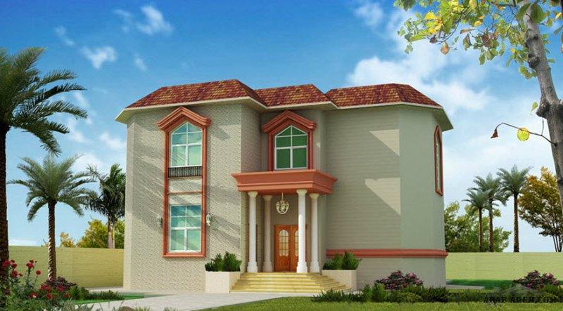 تصاميم منزل خليجي نمط اندلسي أبعاد البيت 15.76 م x 22.96 م   5 غرف نوم
