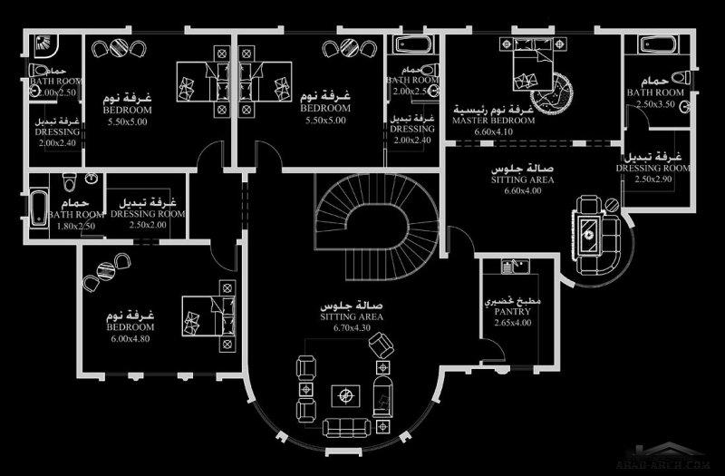 مخطط منزل المساحه 690 متر مربع 5 غرف نوم ابعاد المنزل 25.20 م x 23 م