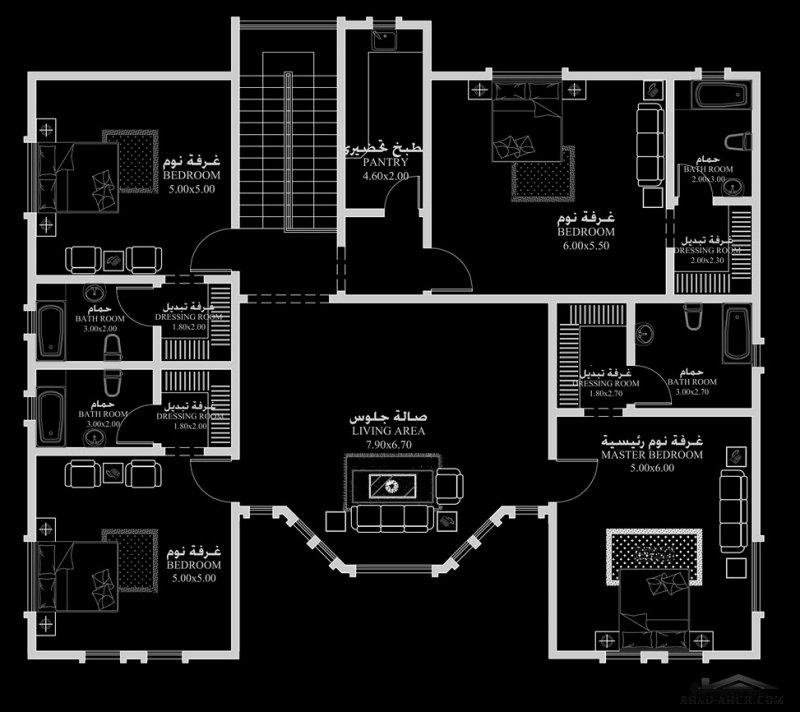 خرائط فيلا خليجي تقليدى 18.70 م x 18.60 م 5 غرف نوم