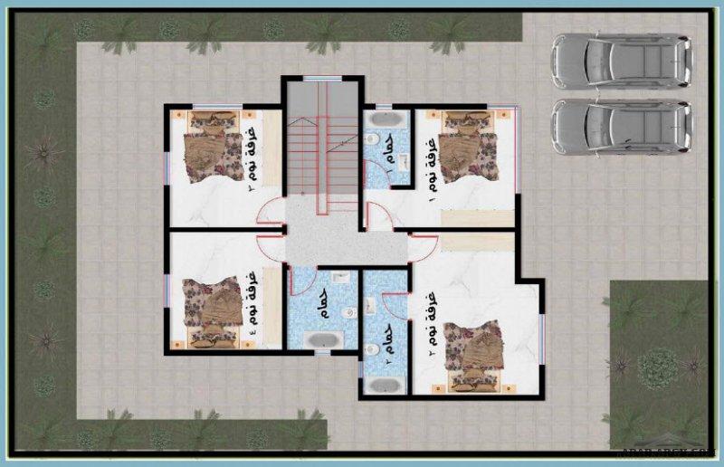 مخطط سعودي صغير المساحة 4 غرف نوم الدور الاول 120 متر مربع