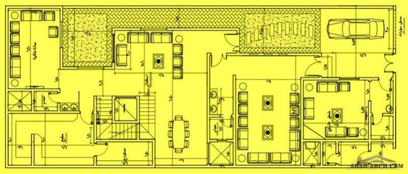 المخطط  سعودي فيلا دورين مساحة الارض 12.3x30متر