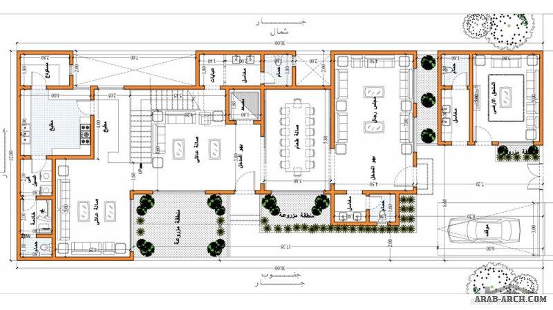 تصاميم فيلا دورين مساحة الارض 12x30 من تصميم م/ ياسر العقبي