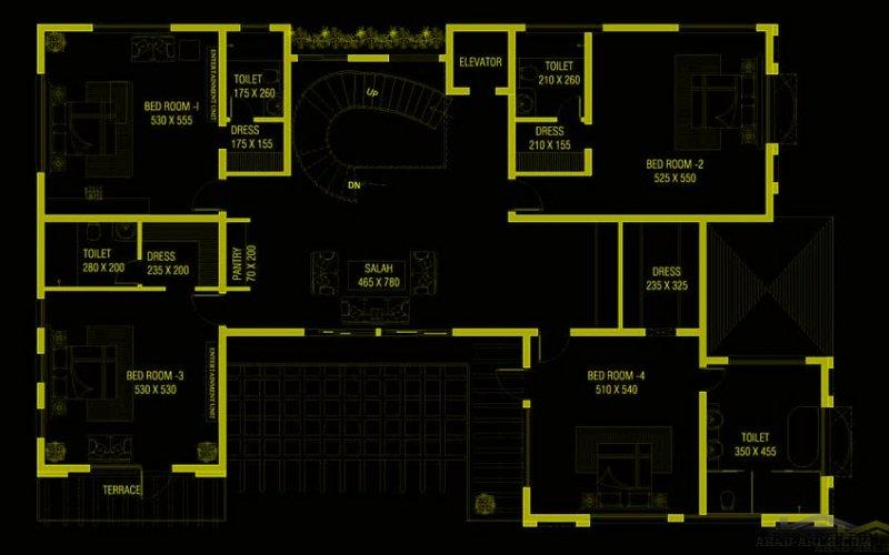 تصميم فيلا أبعاد البيت 24 م عرض x 15 م عمق 5 غرف نوم
