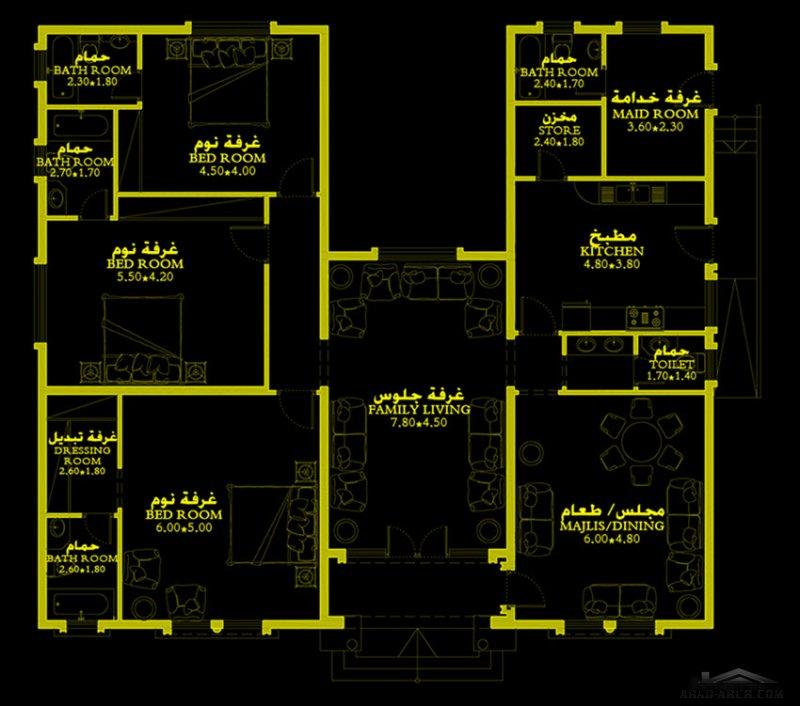 طابق واحد نمط اندلسي المساحة232 متر مربع
